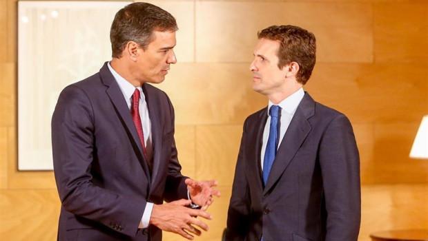 ep el presidente del gobierno en funciones pedro sanchez y el presidente del pp pablo casado se