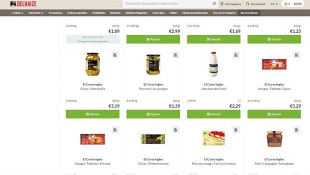 ep presencia de productos de el corte ingles en los supermercados belgas de delhaize