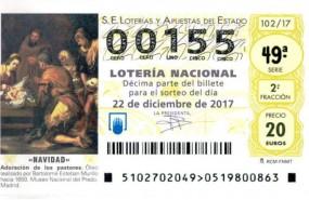 decimo 00155 loteria navidad 2017