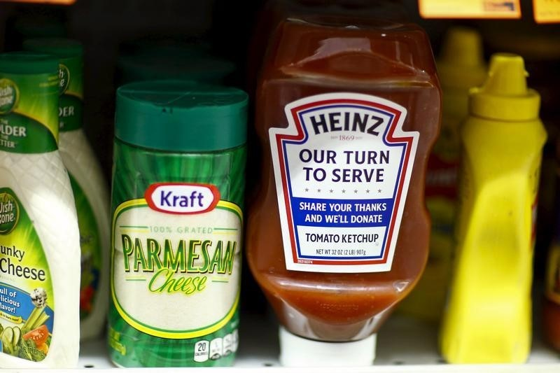 a-heinz-ketchup-bottle-and-a-bottle-of-kraft-parmesan-cheese-are-displayed-in-a-grocery-store-in-new-york
