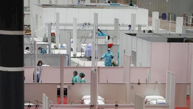 ep imagen de camas habilitadas en el hospital provisional para pacientes de coronavirus en ifema