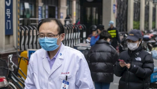 ep march 3 2020 shanghai china - a doctor wears a surgical mask as protection against the