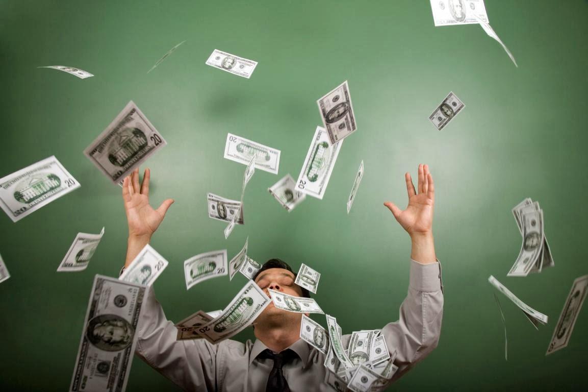dinero, lluvia, billetes, dolares
