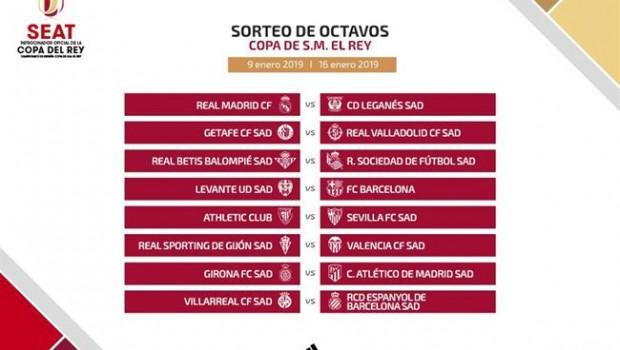 Real Madrid-Leganés y Barça-Levante, en Octavos de Copa del Rey