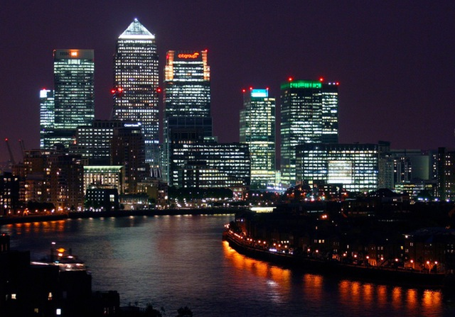 the city building night view night london canary wharf finance business